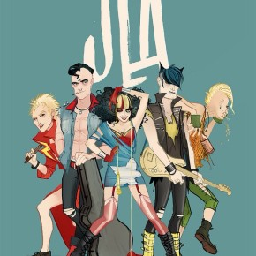 Justice League a la Rock n' Roll por Annie Wu