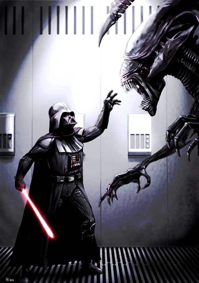 Darth Vader vs. Alien Queen, por Robert Shane