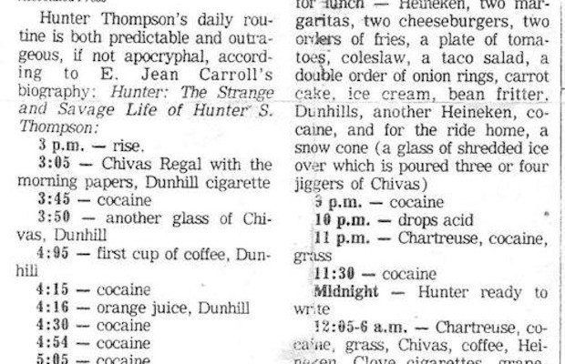 La rutina de Hunter S. Thompson, publicada por Associated Press